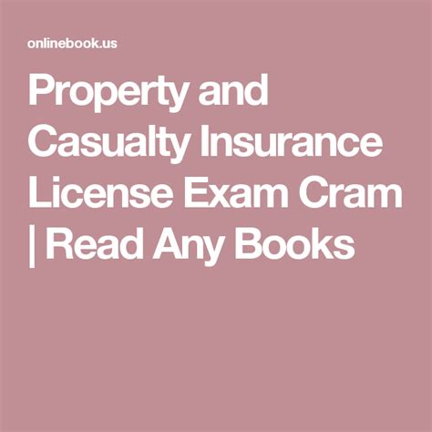 Then you've come to the right place! Property and Casualty Insurance License Exam Cram   Read Any Books   Insurance license, Casualty ...
