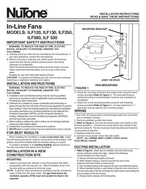 Nutone Bathroom Exhaust Fan Manual by Nutone 763rln Installation Free