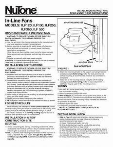 Nutone Fan Ilf120 User U0026 39 S Guide
