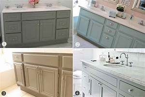 Inspired honey bee home bathroom cabinets upgrade for Ideas for painting bathroom cabinets