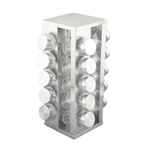 Spice Rack Square Jars by Stainless Steel Spice Rack Squared 20 Glass Jars Seasoning