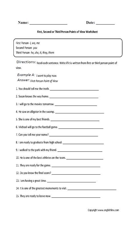 point of view worksheets second and third person