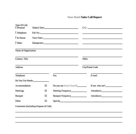 sales call report samples sample templates
