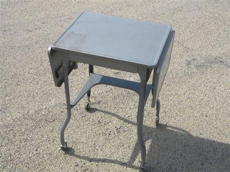 Vintage typewriter table, industrial metal desk