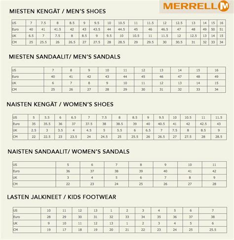 merrell shoe size chart shoes  yourstyles