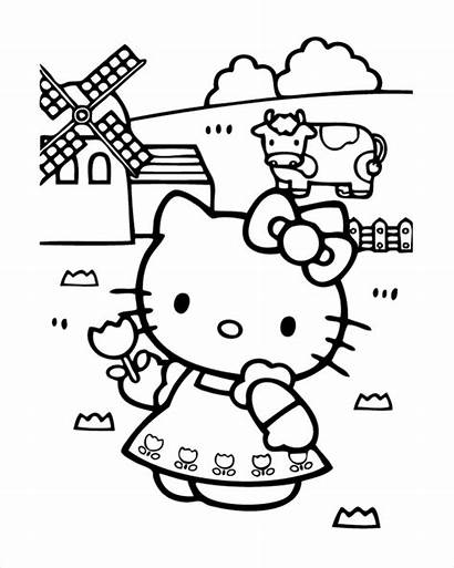 Kitty Hello Coloring Farm Pages Pdf
