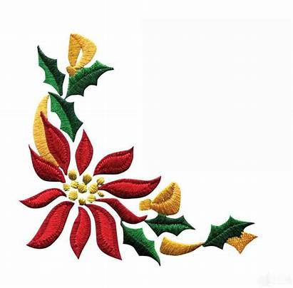 Border Christmas Clip Poinsettia Designs Flowers Corner