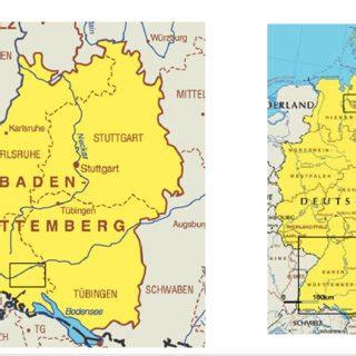 Note that the postal code may be searched with nearby approximation. Map of Germany and the federal state Baden-Wurttemberg ...