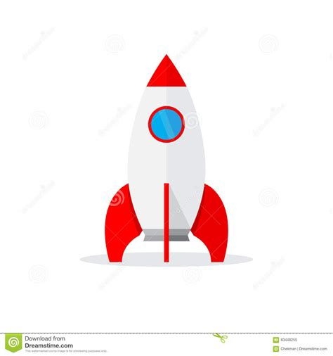 Spaceship Icon In Flat Design Vector Illustration Stock