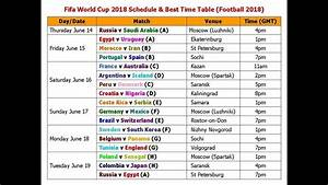 Fifa World Cup 2018 Schedule  U0026 Best Time Table  Football