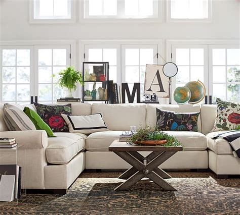 Pottery Barn Living Room Pillows by Townsend Upholstered 4 Sectional With Chaise