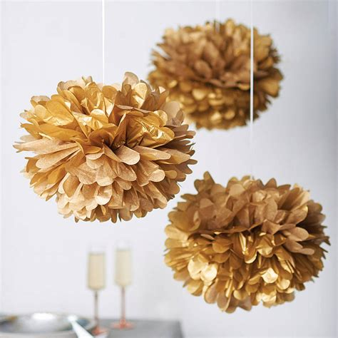pom pom decorations metallic hanging pom pom decoration by pearl and earl notonthehighstreet