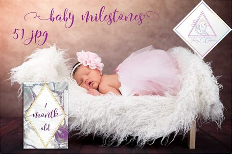 36 printed cards for baby's first milestones. Baby Milestone Cards, 51 JPG files ~ Card Templates ~ Creative Market