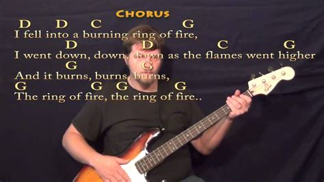Ring Of Fire (johnny Cash) Bass Guitar Cover Lesson With Chords/lyrics
