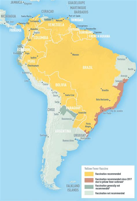 south america map yellow fever cdc