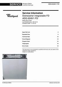 Whirlpool Adg 6240  1 Fd Dishwasher Service Manual