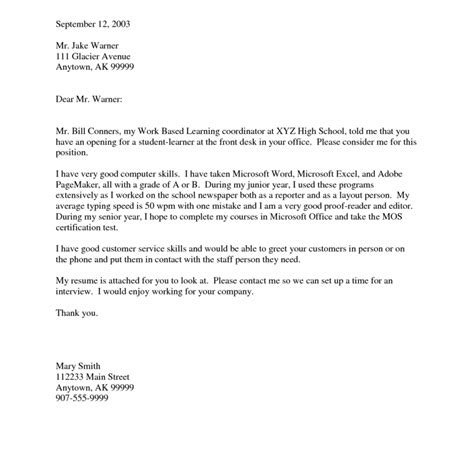 14167 sle high school student cover letter resume exles