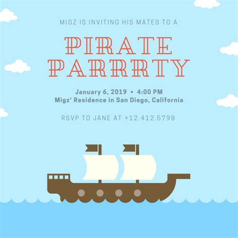 bright map themed pirate birthday party invitation