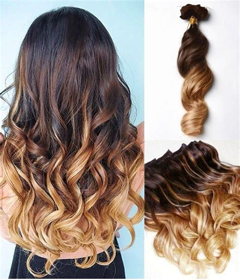 Brown To Blonde Dip Dye Ombre Indian Remy Clip In Hair