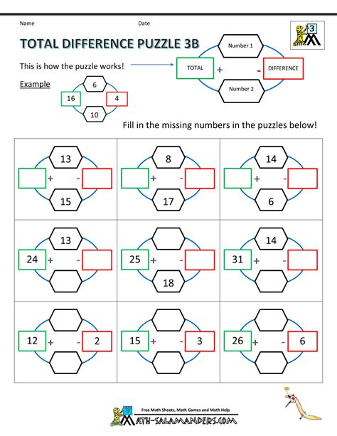 3rd grade math puzzle worksheets total difference puzzle