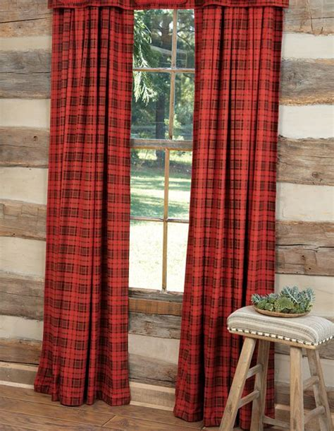 Tartan Plaid Drapes - plaid drapes adirondack lake house