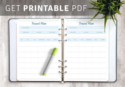 printable travel plan template