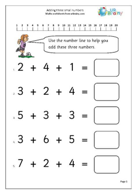 add 3 small numbers 1 addition maths worksheets for year