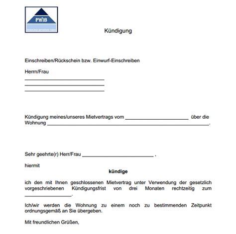 vorlage kündigung mietwohnung durch mieter vorlage k 252 ndigung mietvertrag dokument blogs
