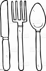 Fork Spoon Knife Cartoon Drawing Silverware Doodle sketch template