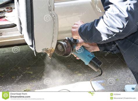 Car Repair Grinding To Remove Rust Stock Image  Image Of