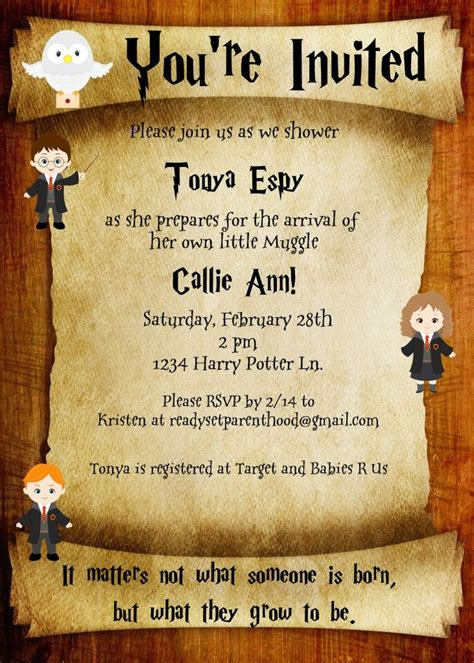 Harry Potter Baby Shower Invitations - throwing a harry potter inspired baby shower ready set