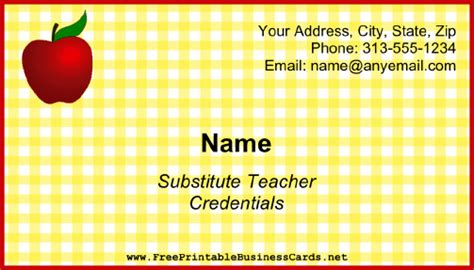 Substitute Teacher Business Card Business Card Business Plan Sample For Janitorial Attire Kimono Ladies Executive Summary Samples Dress Code Female Also Known As Job Interview And