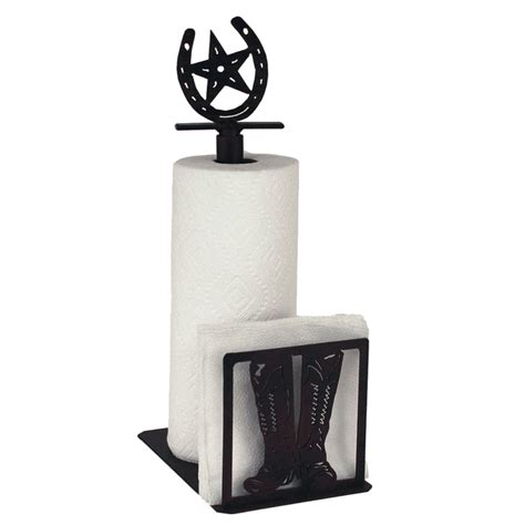 restaurant table top paper towel holder iron boot paper towel napkin holder with horseshoe topper