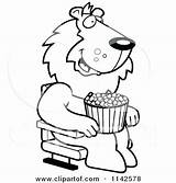 Popcorn Coloring Eating Pages Lion Watching Clipart Theater Cartoon 3d Movies Happy Thoman Cory Vector Outlined Printable Getcolorings Rf Illustrations sketch template