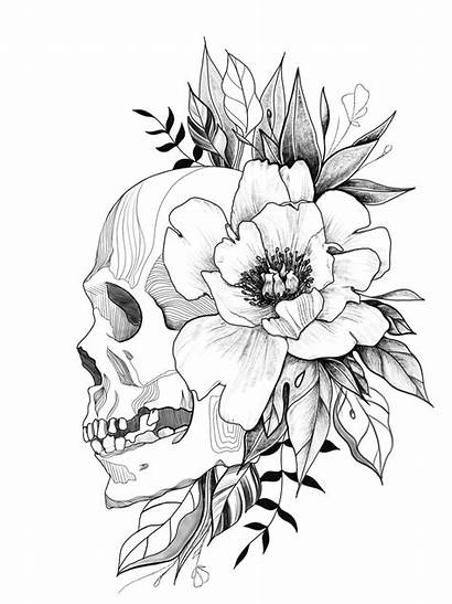 Skull Tattoo Floral Flowers Designs Drawings Skulls