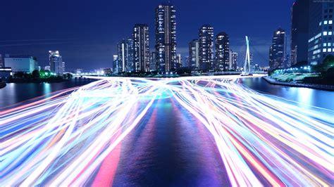 Wallpaper City, Light, Night, River, 4k, 8k, Architecture
