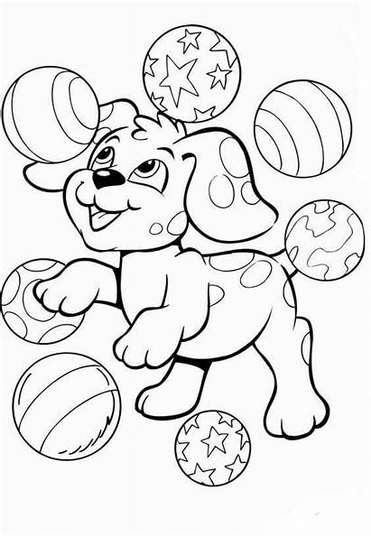 Coloring Puppy Pages Playing Balls Printable Juggling