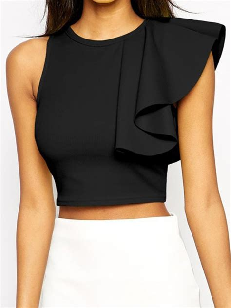 Cropped Scalloped Tank Top Black M black neck ruffle crop tank top shein abaday