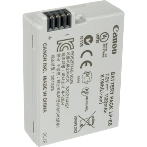 canon battery lp e8 1120mah canon lp e8 rechargeable lithium ion battery pack 4515b002 b h