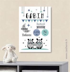 Affiche naissance bebe cadeau de naissance garcon for Tableau chambre bébé personnalisé