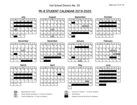 student calendars vail school district