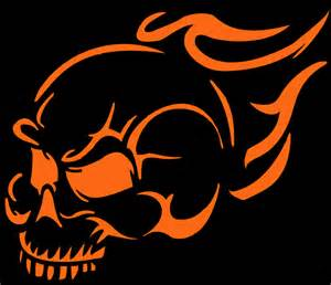 Flaming Skull Pumpkin Carving Stencil