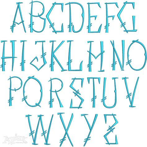 chopstick monogram embroidery font