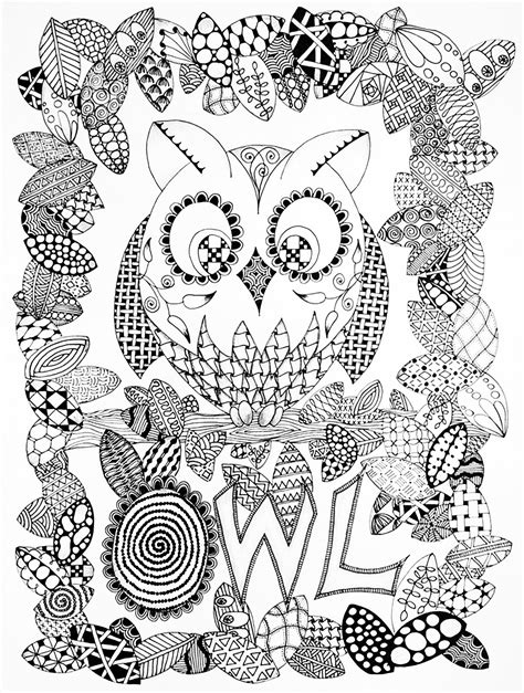 Coloring Zentangle by Zentangle Owl Coloring Pages