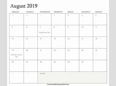 August 2019 Calendar With Holidays calendar month printable