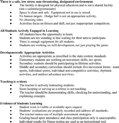 sample evaluation form   school physical education