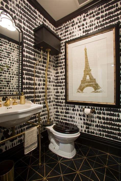 black  white art deco powder room  gold eiffel