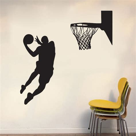 This sporty metal basketball wall decor adds an industrial look to your walls. New! Cool Basketball Sport Theme Wall Sticker for Boys Living Room Home Decor Waterproof PVC ...