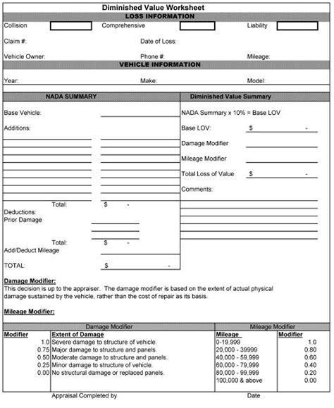 17c worksheet insurance diminished value calculator