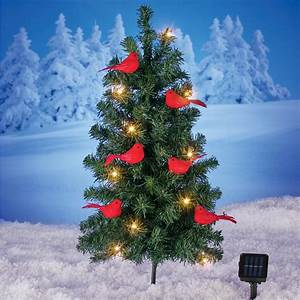 Solar, Christmas, Tree, With, Cardinals, Yard, Stake, -, Outdoor, Holiday, Decoration